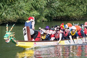 A Dragon Boat team in fancy dress